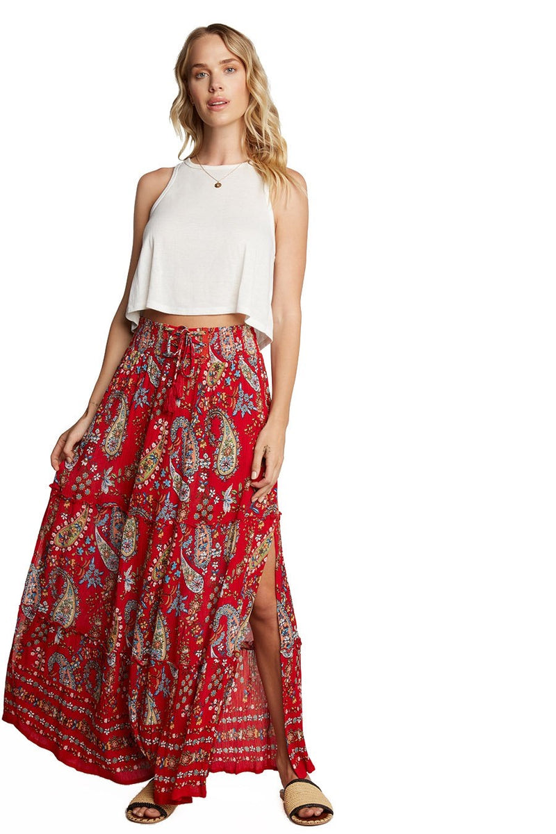FLOWY MAXI SKIRT - RED - RETAIL STORE
