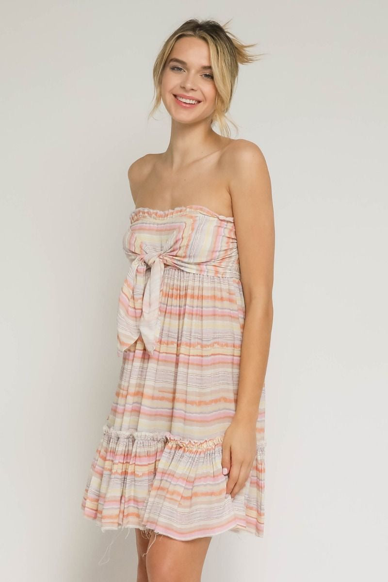 PASTEL STRIPED TUBE DRESS - RETAIL STORE