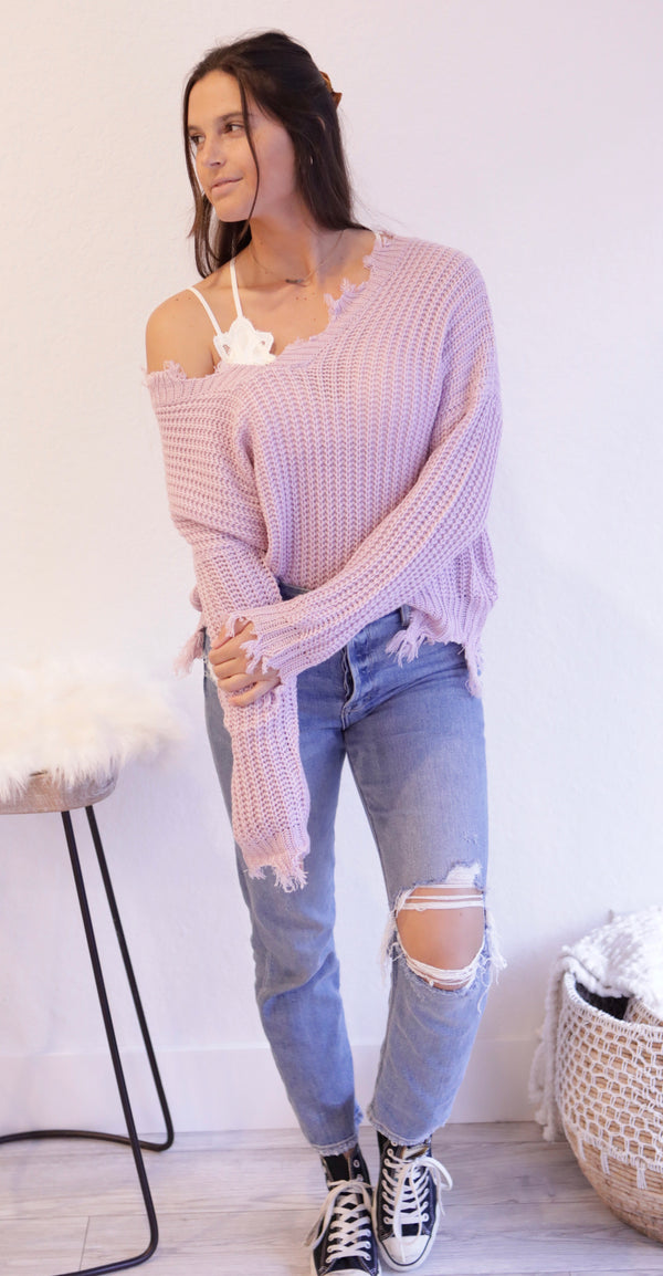 V-NECK DISTRESED SWEATER - LAVENDER - RETAIL STORE