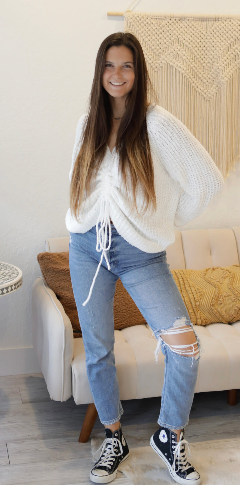V-NECK DRAWSTRING SWEATER - IVORY - RETAIL STORE
