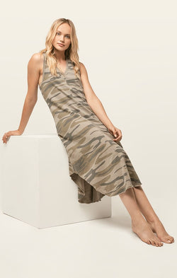 Z SUPPLY CAMO REVERIE DRESS - LIGHT SAGE CAMO - RETAIL STORE