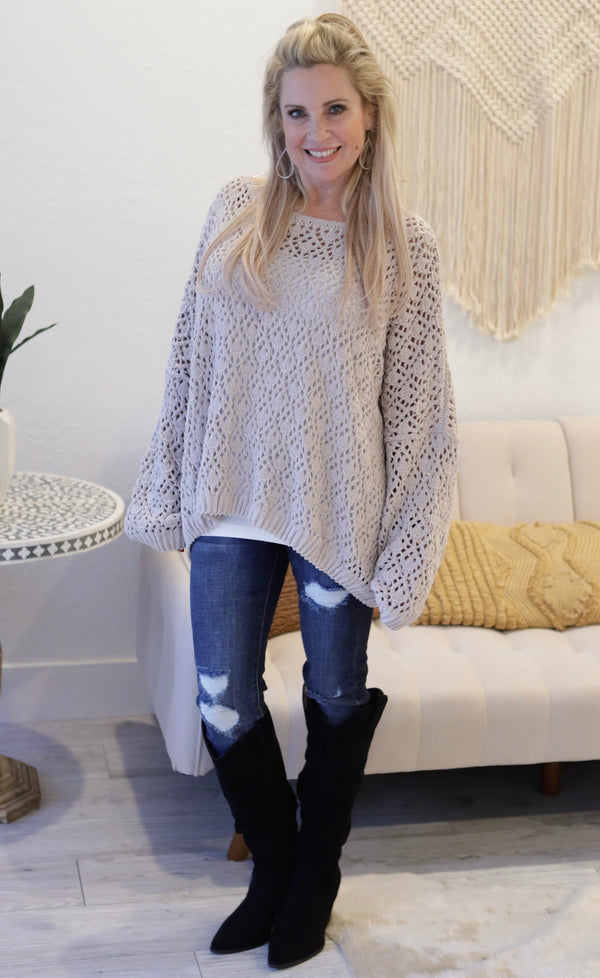 SCOOP NECK LATTICE KNIT SWEATER - NUDE - RETAIL STORE