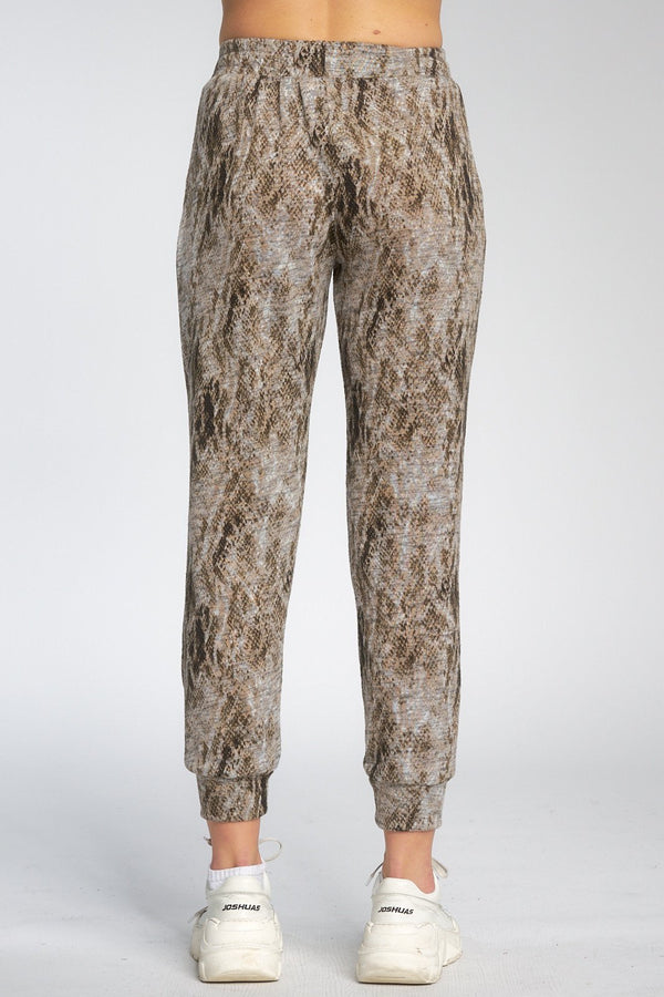 SNAKE PRINT JOGGERS - TAUPE - RETAIL STORE