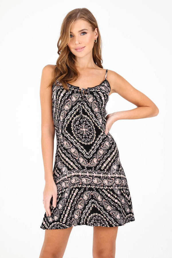 PATRONS OF PEACE - PAISLEY PRINT SWING DRESS - BLACK - RETAIL STORE