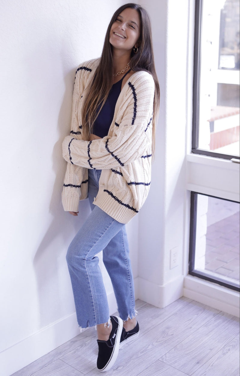 OVERSIZED V NECK CABLE KNIT STRIPED SWEATER - CREAM - RETAIL STORE