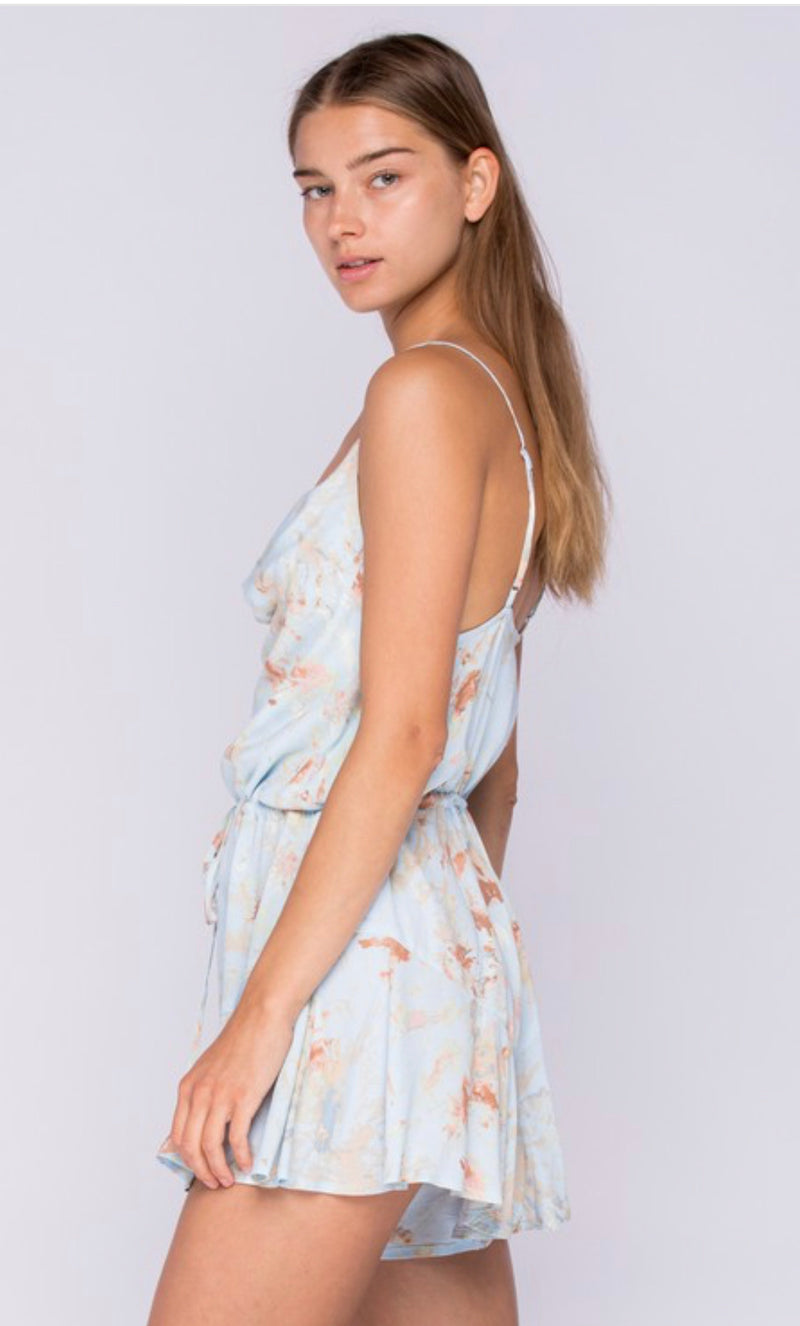 COWL NECK SPAGHETTI STRAP ROMPER - NATURAL/KHAKI  AND BLUE/KHAKI - RETAIL STORE