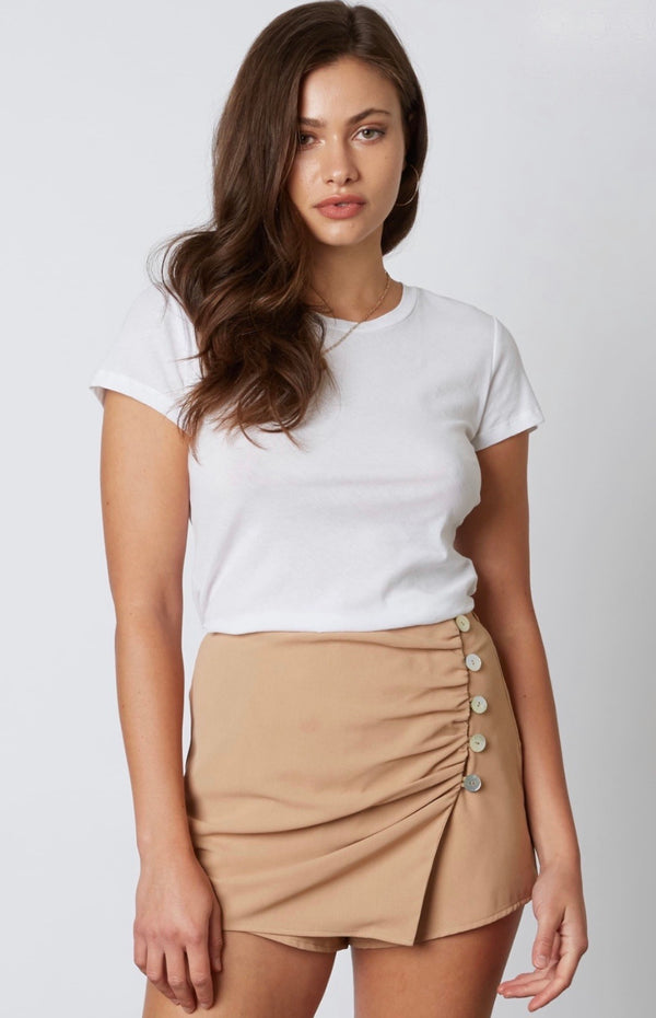 WRAP SKORT WITH BUTTON DETAILS - TAN - RETAIL STORE