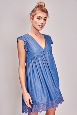 V-NECK DRESS WITH RUFFLE SLEEVE - DENIM - RETAIL STORE