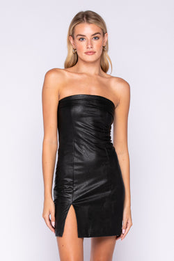 STRAPLESS FAUX LEATHER DRESS - BLACK - RETAIL STORE