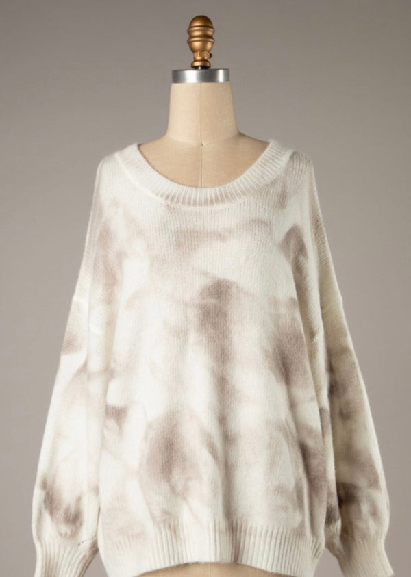 TIE DYE RIBBED TRIM BRUSHED KNIT SWEATER - BEIGE - RETAIL STORE