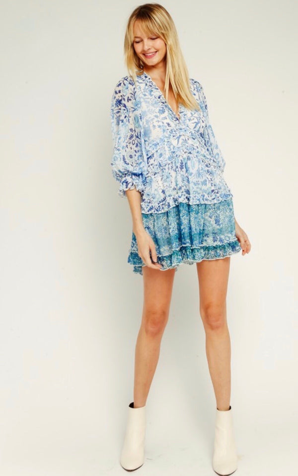 3/4 SLEEVE V NECK RUFFLE DRESS - WHITE/BLUE FLORAL - RETAIL STORE