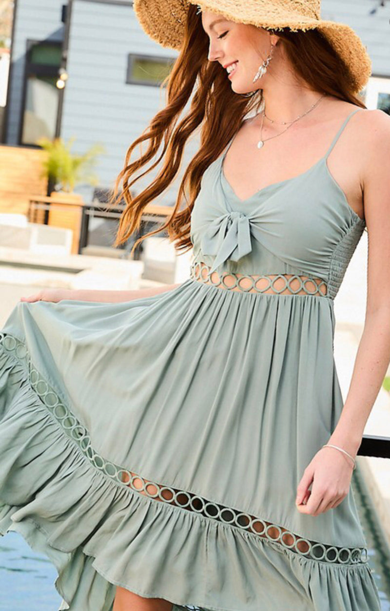 HIGH LOW SUNDRESS- AVAILABLE IN DUSTY SAGE