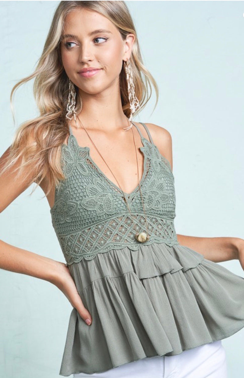 SMOCKED CROCHET  BANDEAU BACK TOP - OLIVE AND BLACK - RETAIL STORE