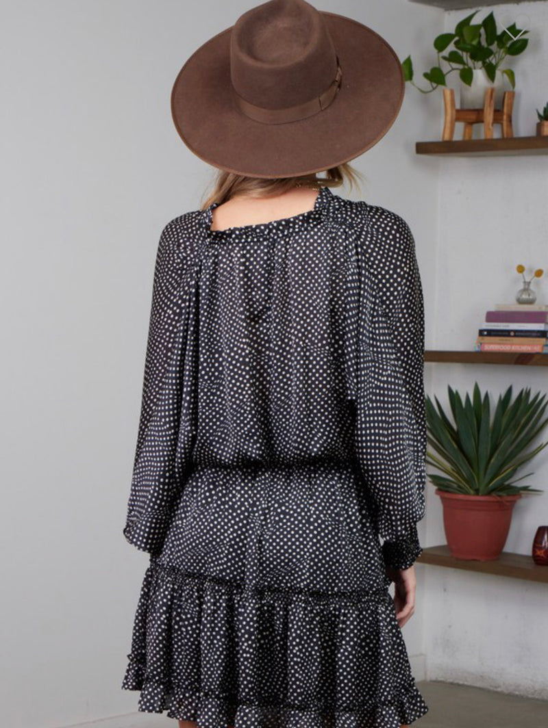 POLKA DOT SMOCKED WAIST DRESS - BLACK//IVORY - RETAIL STORE