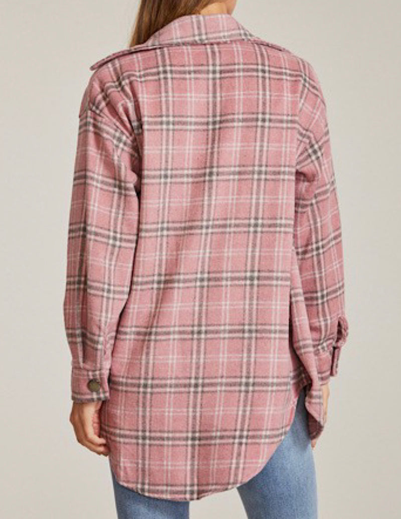 HEAVY FLANNEL PLAID SHIRT WITH POCKETS - PINK/WHITE - RETAIL STORE