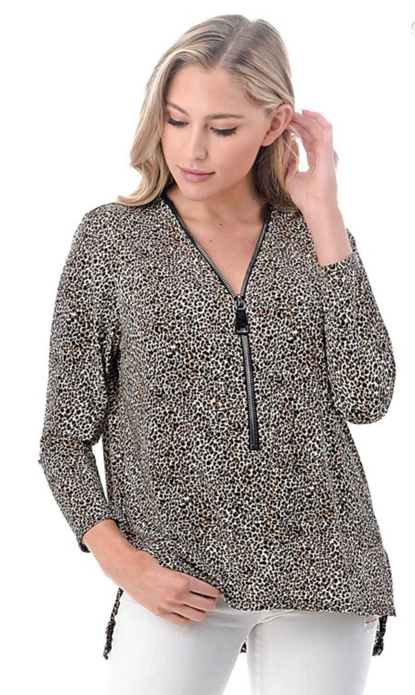 HI LOW LEOPARD PRINT ZIP TOP - BROWN - RETAIL STORE