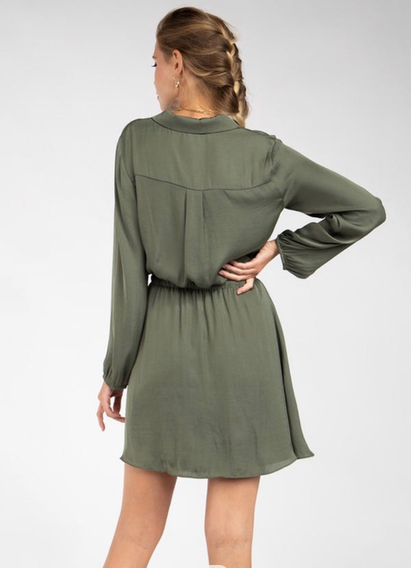 LAPEL COLLAR FLAP POCKET DRESS - LAUREL - RETAIL STORE