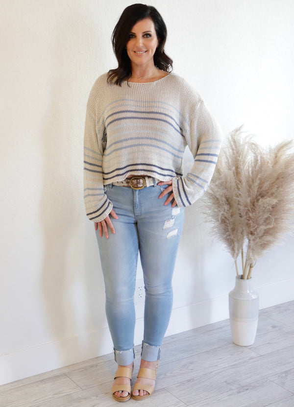 STRIPED KNIT PULLOVER SWEATER - GREY/PINK/COCO & SILVER/NAVY/LT. BLUE - RETAIL STORE