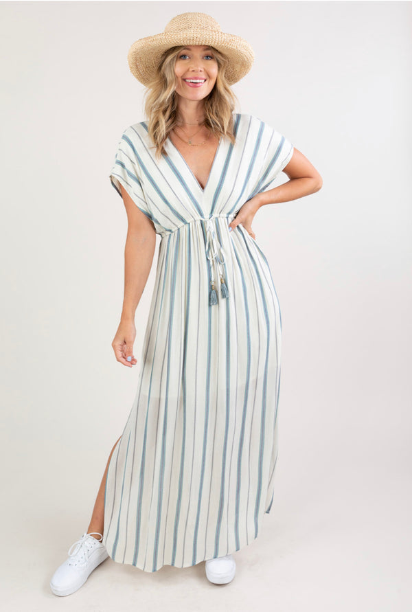 STRIPED EMPIRE WAIST MAXI DRESS - BLUE/IVORY