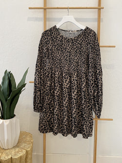LEOPARD PRINT SMOCKED LONG SLEEVE DRESS - BROWN - RETAIL STORE
