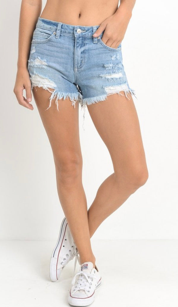 MID RISE DESTROYED SHORTS- WHITE, LIGHT DENIM AND WHITE- RETAIL
