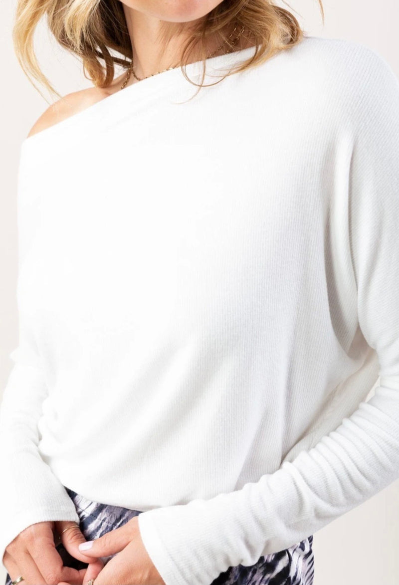 MICRO RIBBED OFF THE SHOULDER TOP - WHITE - RETAIL STORE