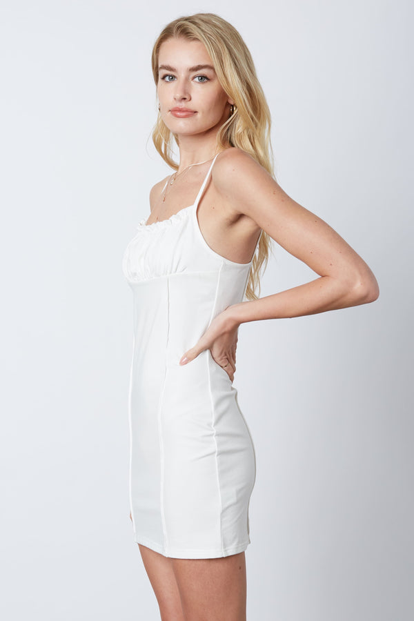 MINI DRESS WITH RUCHING AND RUFFLE DETAIL - WHITE