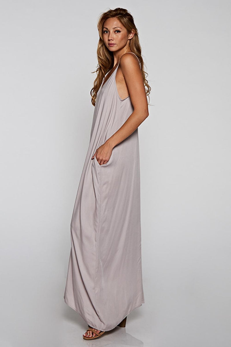 CHALLIS MAXI DRESS WITH POCKETS - CLOUD - RETAIL STORE
