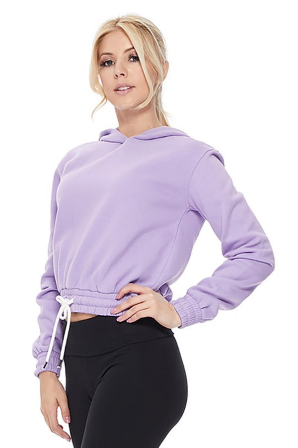 CROPPED PULLOVER HOODIE- BLUSH PINK, BLACK  AND LILAC- RETAIL STORE