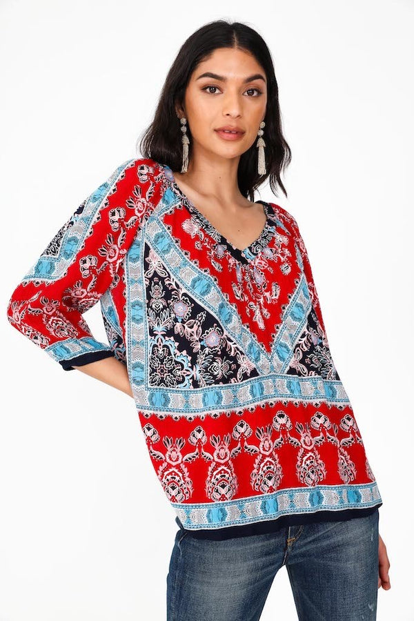 PRINTED V-NECK BLOUSE - RED/BLUE - RETAIL STORE