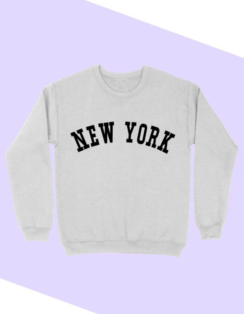 'NEW YORK' GRAPHIC  CLASSIC FIT SWEATSHIRT - HEATHER GREY - RETAIL STORE