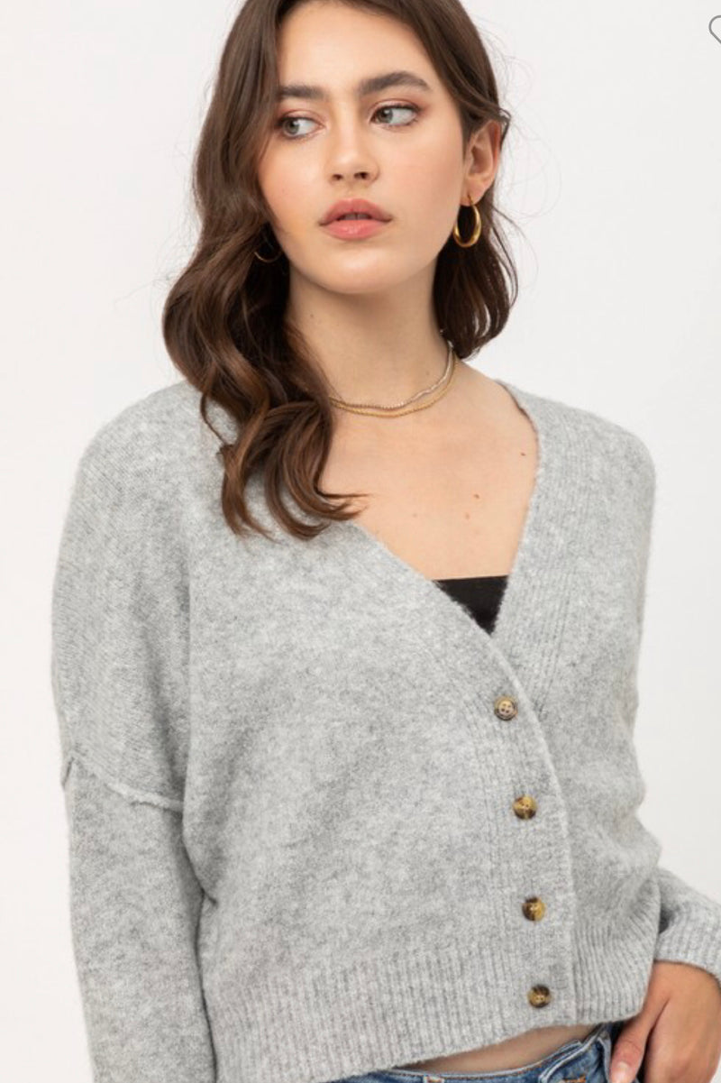 BUTTON DOWN NAPPED YARN CROP CARDIGAN - IVORY & HEATHER GREY - RETAIL STORE