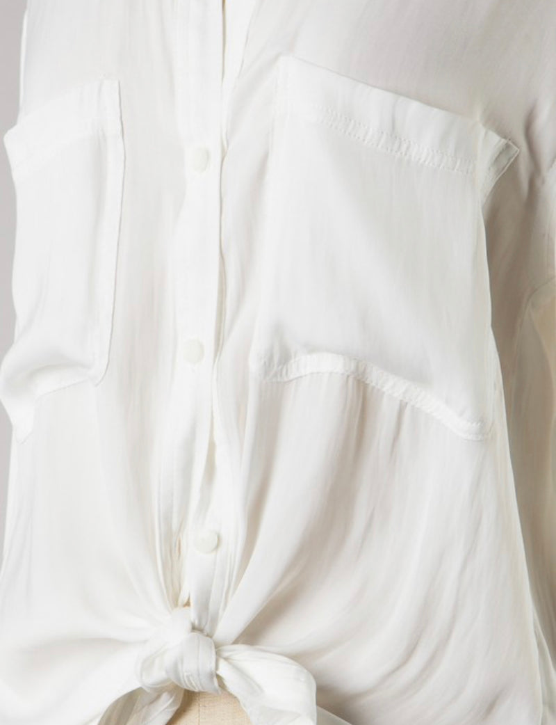 WASHED SATIN BUTTON DOWN BLOUSE - BLUSH AND OFF WHITE - RETAIL STORE