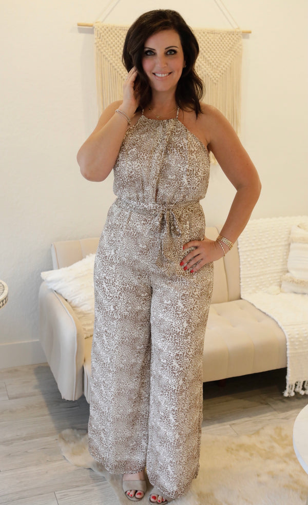 SLEEVELESS HALTER JUMPSUIT - OFF WHITE/BROWN