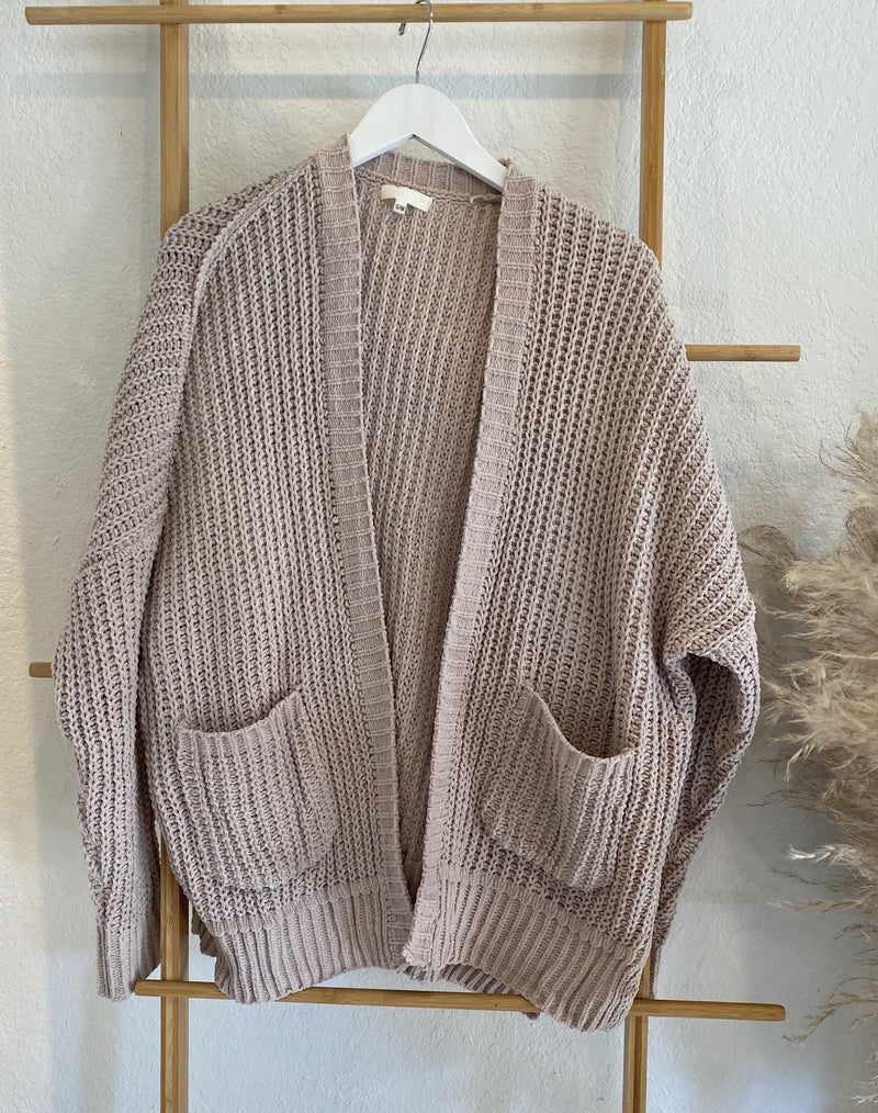 LARGE WEAVE CARDIGAN WITH POCKETS - CHARCOAL & NUDE - RETAIL STORE