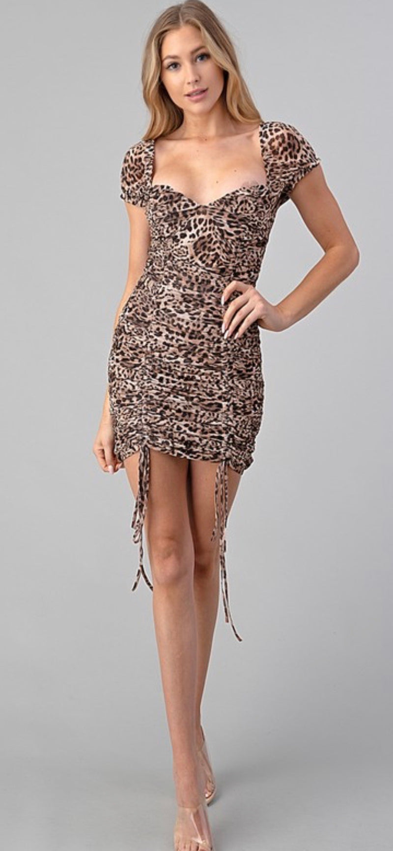 LEOPARD FRONT RUSHED MINI DRESS - RETAIL STORE