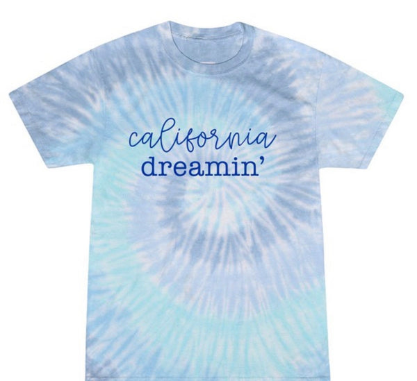 CALIFORNIA DREAMIN' BLUE TIE DYE TEE  - RETAIL STORE