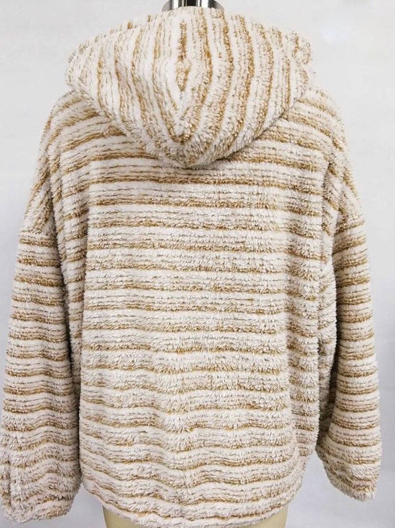 STRIPED FAUX FUR ZIP UP HOODIE JACKET - CARAMEL, CHARCOAL & OLIVE - RETAIL STORE