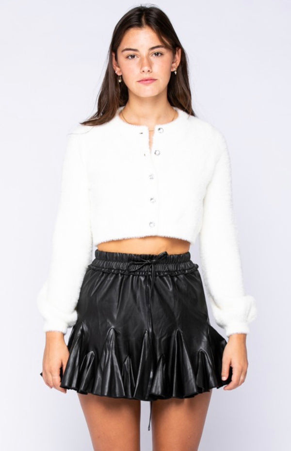 JEWEL BUTTONED CROP SWEATER - OFF WHITE - RETAIL STORE