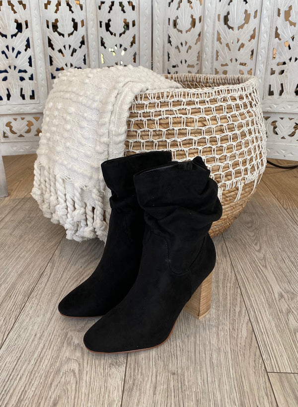 FAUX SUEDE SLOUCHY BOOTIE - TOFFEE & BLACK - RETAIL STORE