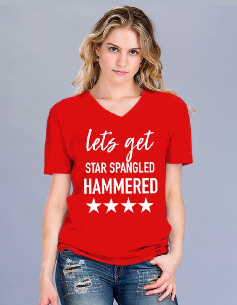 """STAR SPANGLED HAMMERED"" TEE - RED AND ROYAL BLUE - RETAIL STORE"