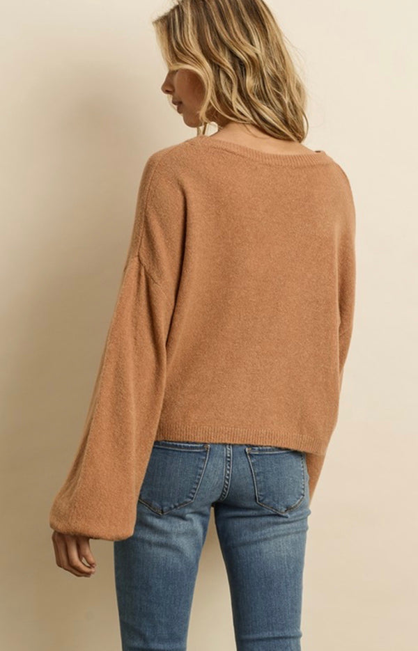 BUBBLE SLEEVE SWEATER - SAND - RETAIL STORE
