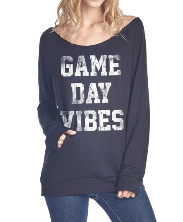 "LONG SLEEVE ""GAME DAY VIBES"" GRAPHIC TOP - BLACK - RETAIL STORE"
