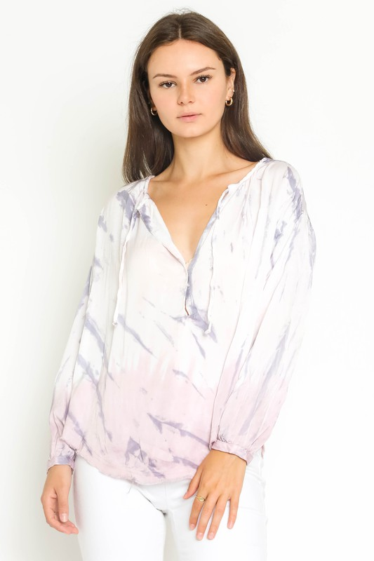 TIE DYE LONG SLEEVE DRAWSTRING V-NECK SHIRT - PURPLE - RETAIL STORE