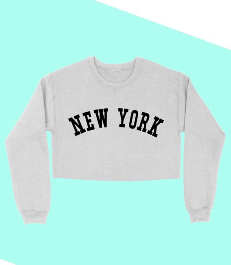 'NEW YORK' GRAPHIC CROP SWEATSHIRT - HEATHER GREY & WHITE - RETAIL STORE