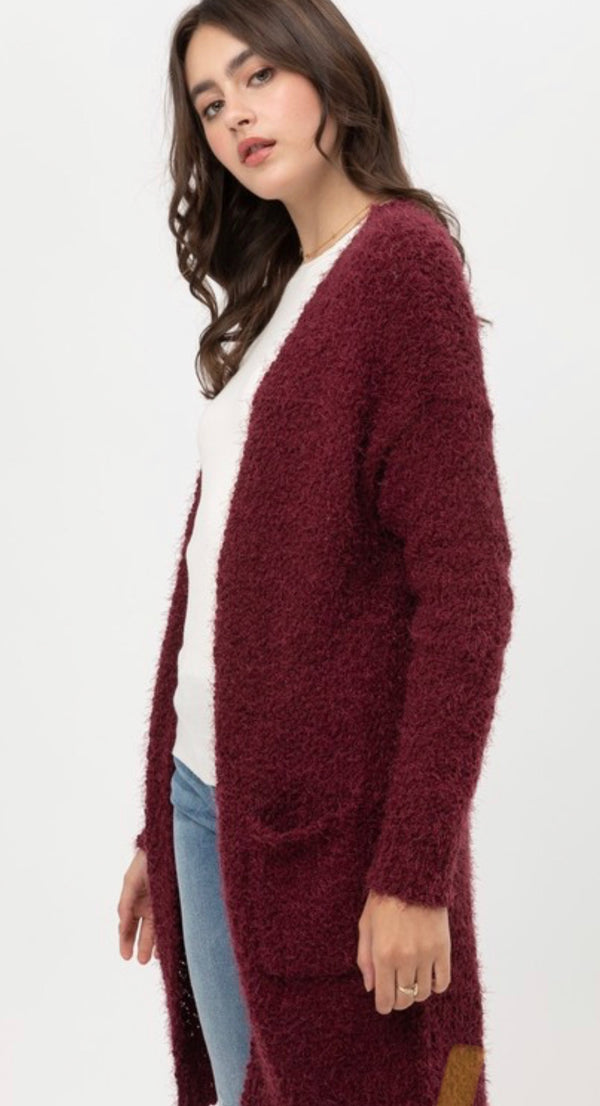 LONG SLEEVE CARDIGAN SWEATER WITH POCKETS - WINE - RETAIL STORE