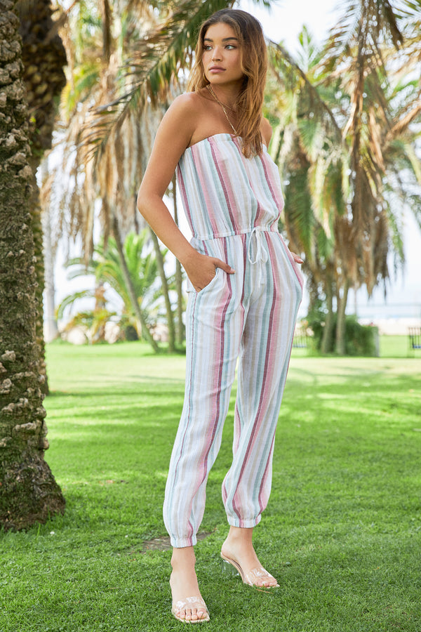STRIPED STRAPLESS JUMPSUIT - ROSE MULTI-STRIP