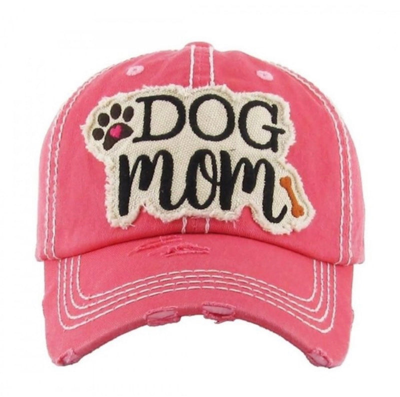 """DOG MOM"" BASEBALL CAP -MOSS, WATERMELON AND VINTAGE  BLACK- RETAIL STORE"