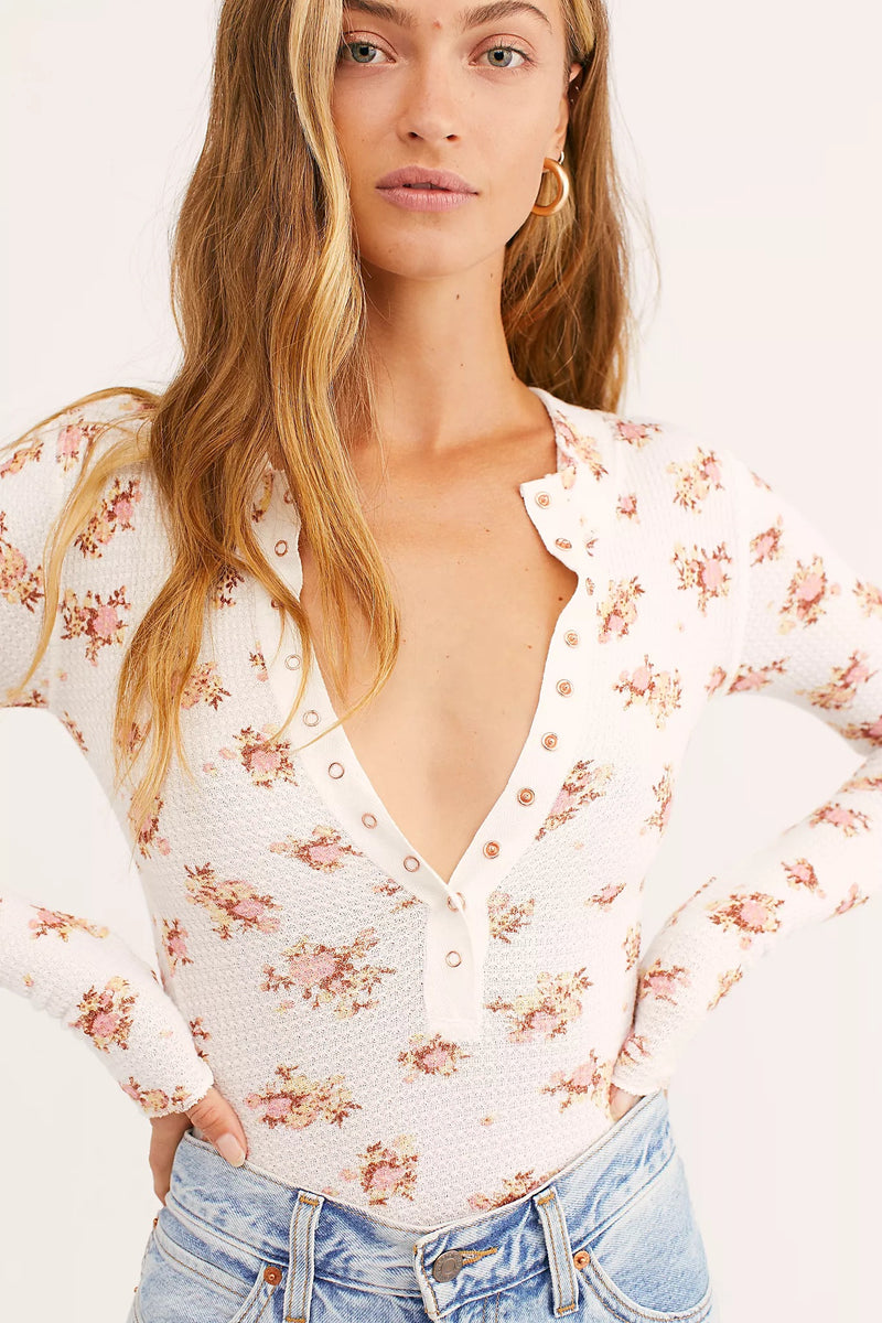 FREE PEOPLE -  ONE OF THE GIRLS PRINTED HENLEY - BLACK COMBO, WHITE COMBO & ARMY COMBO