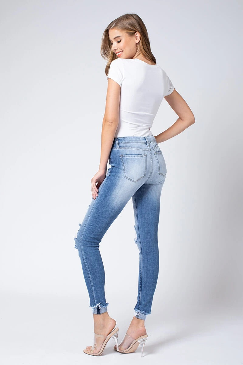 MID RISE DISTRESSED SKINNY ANGEL JEANS - RETAIL STORE
